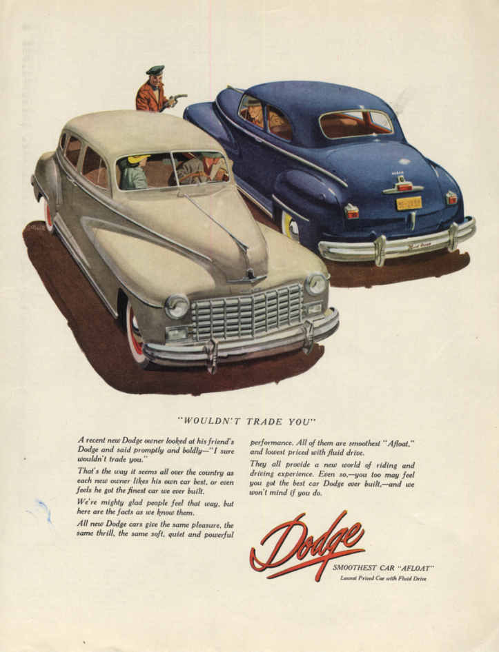 Image for Wouldn't trade you! Dodge Sedan & Coupe ad 1948 SEP