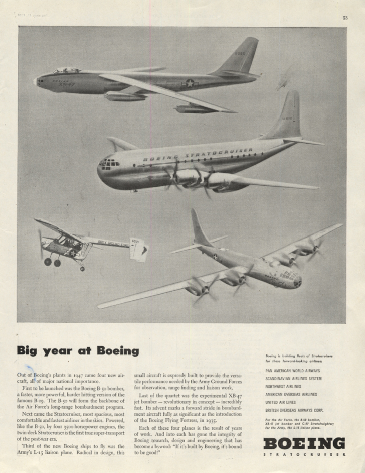 Image for Big year at Boeing: XB-47 B-47 Stratocruiser B-50 ad 1948 SEP