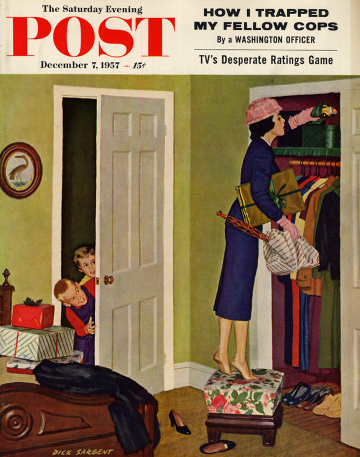 Image for SATURDAY EVENING POST COVER 1957 Mom hides Christmas presents from kids: Sargent