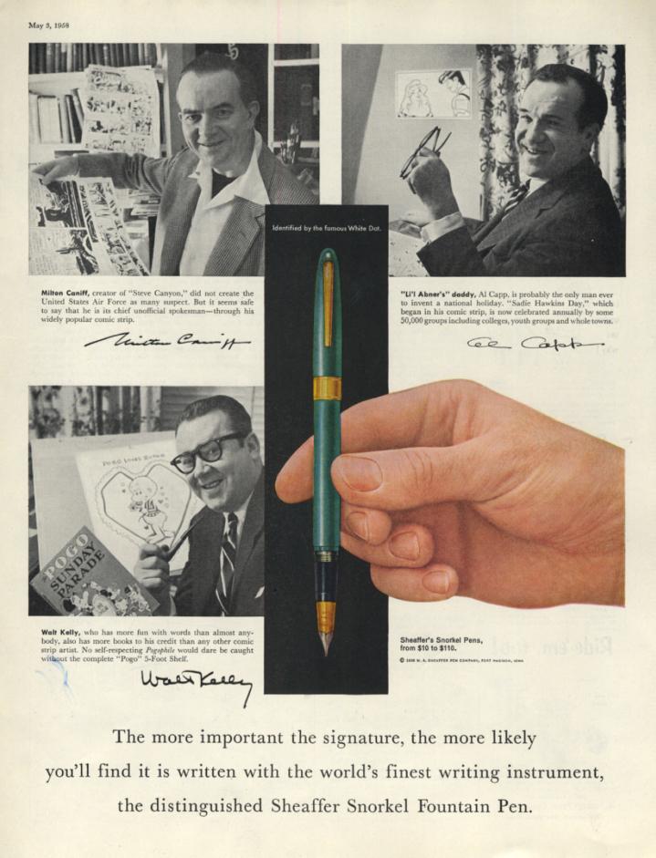 Image for Milton Caniff Al Capp & Walt Kelly for Sheaffer Snorkel Pen ad 1958 SEP