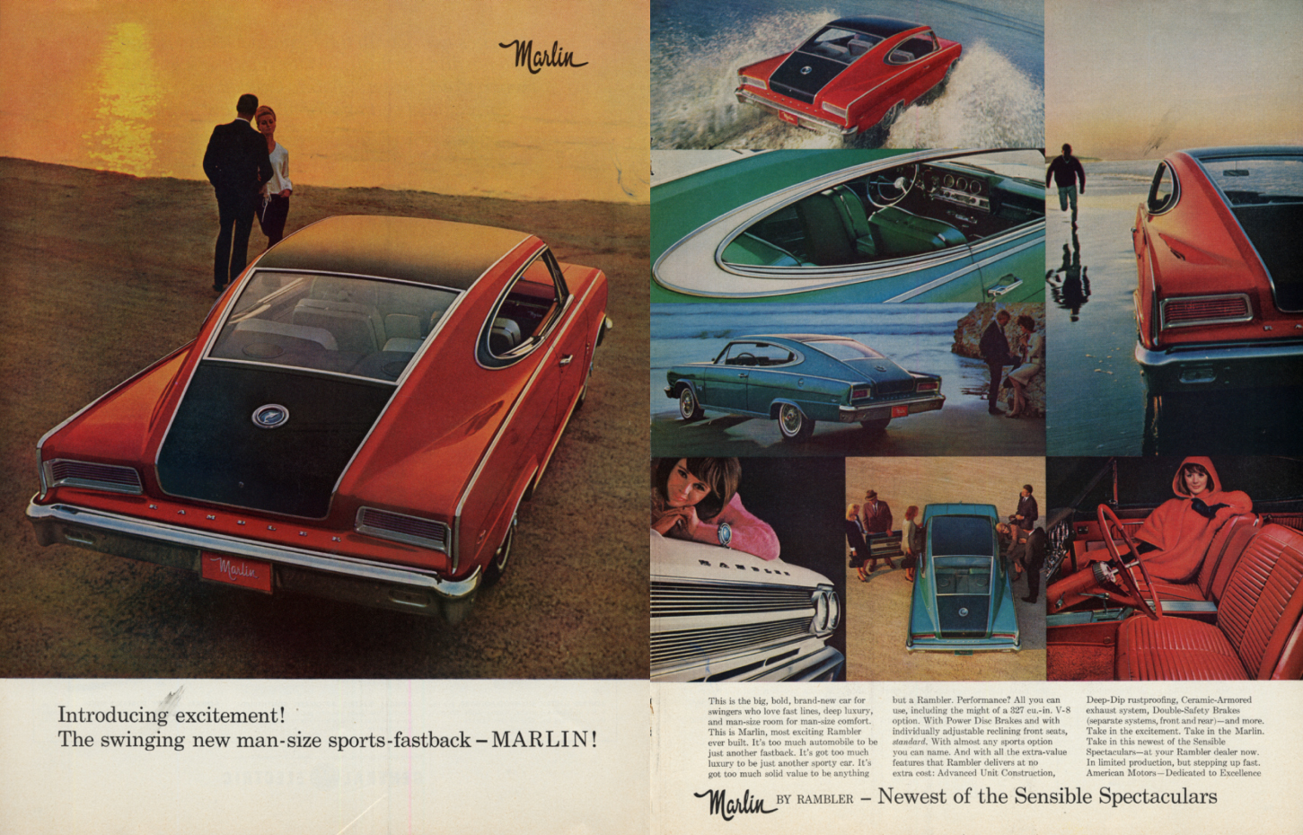 Image for Swinging man-size sports-fastback AMC Marlin ad 1965 SEP