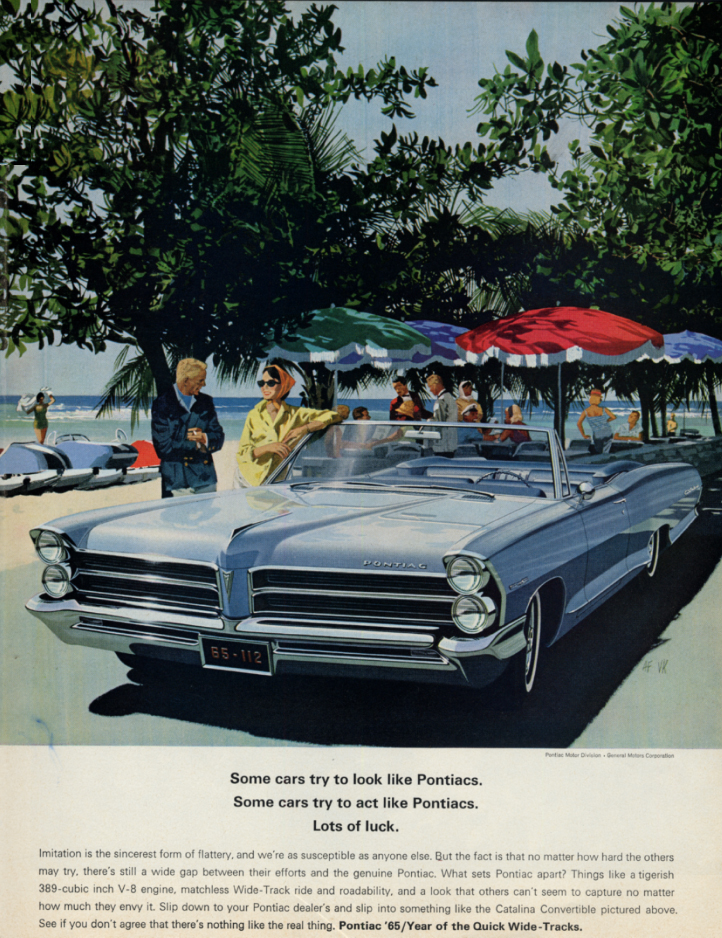 Image for Some cars try to act like Pontiac Catalina Convertible ad 1965 SEP