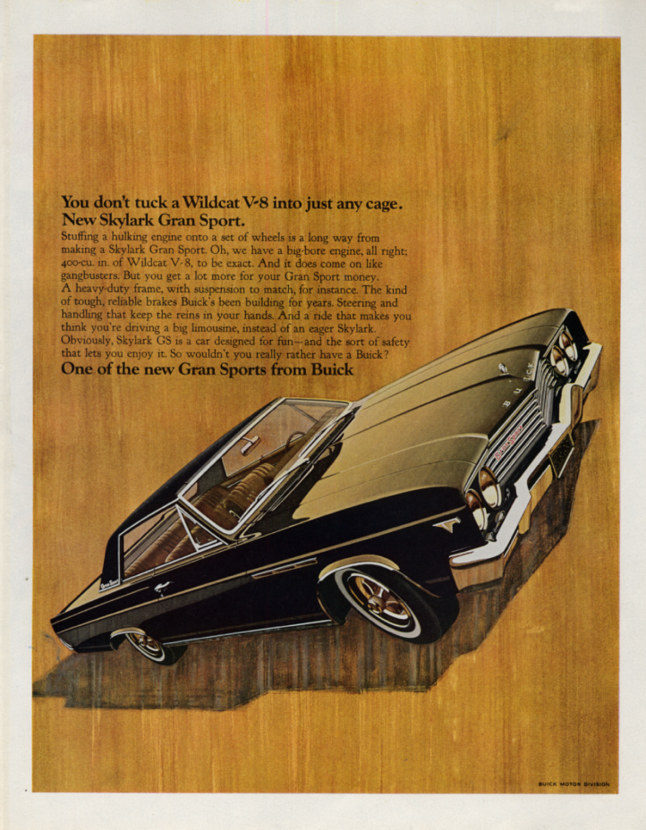Image for Tuck a Wildcat V-8 into the Buick Skylark Grand Sport ad 1965 SEP