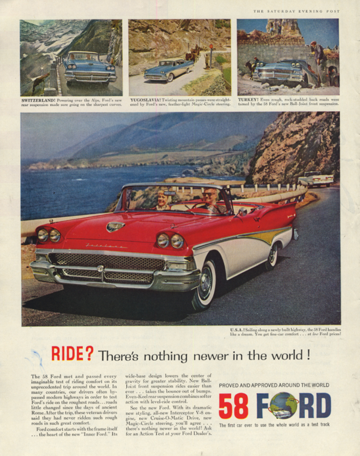 Image for Ride? There's nothing newer in the world Ford Fairlane 500 Convertible ad 1958 P