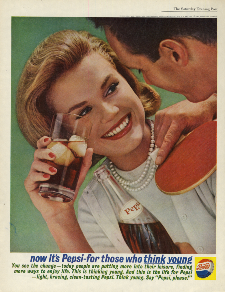 Image for Now it's Pepsi-Cola for those who think young ad 1962 table tennis SEP