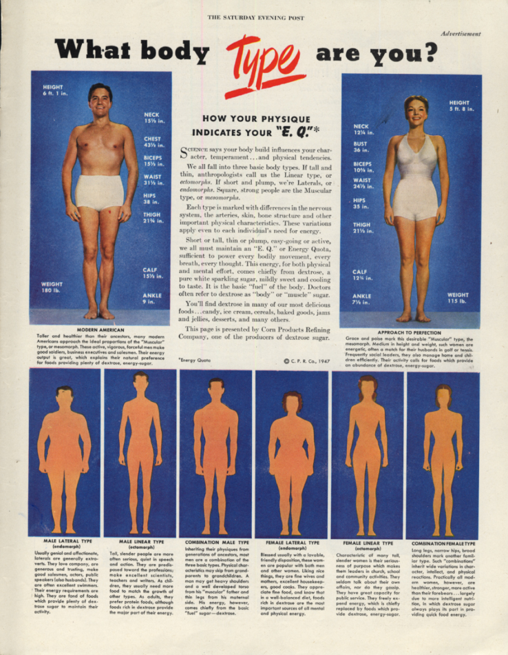 Image for What body type are you? Corn Products Refining ad 1947 SEP