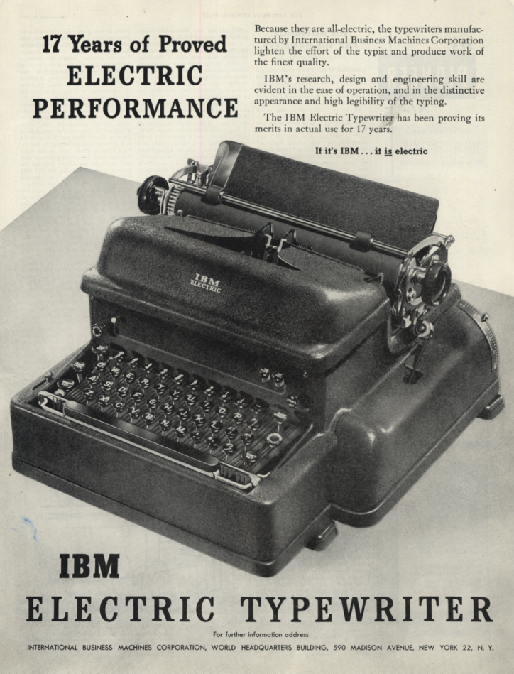 17 Years of Proved Electric Performance: IBM Electric Typewriter ad 1947 SEP
