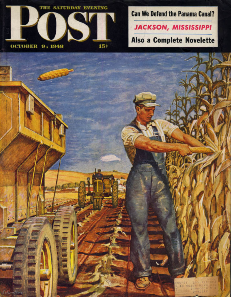 Image for SATURDAY EVENING POST COVER 1948 Harvesting corn by Mead Schaeffer