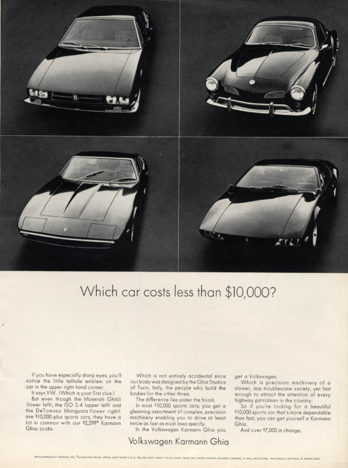 Image for Which car costs less than $10,000? Volkswagen Karmann Ghia ad 1969 ESQ