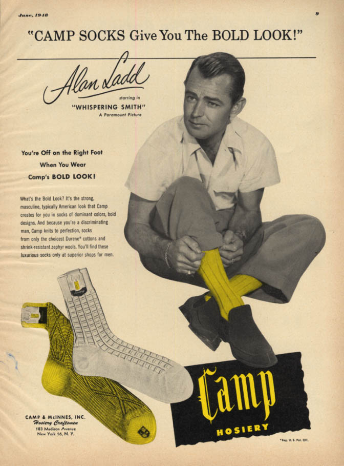 Image for Alad Ladd says Camp Socks give you the Bold Look! Ad 1948