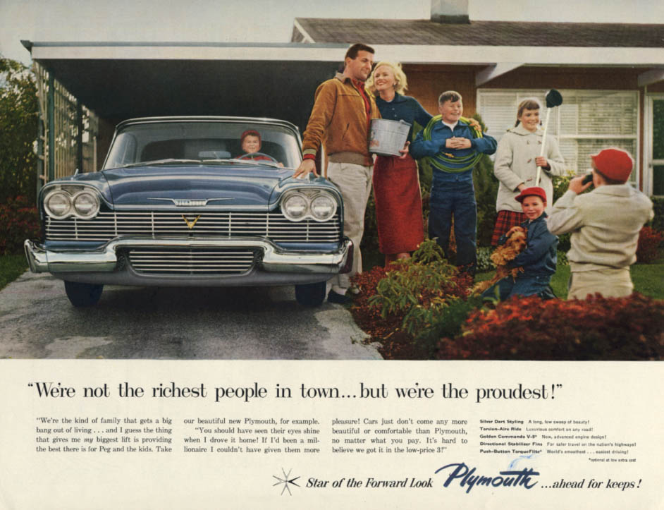 Image for We're not the richest in town but we're proudest Plymouth ad 1958 H
