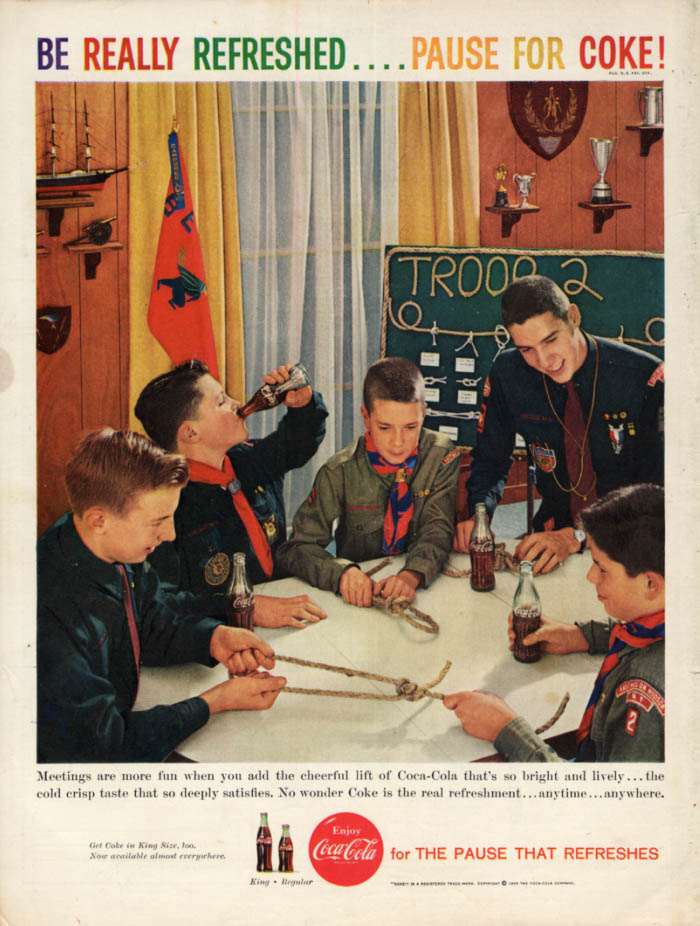 Boy Scout meetings are more fun with Coca-Cola ad 1959 learning knots