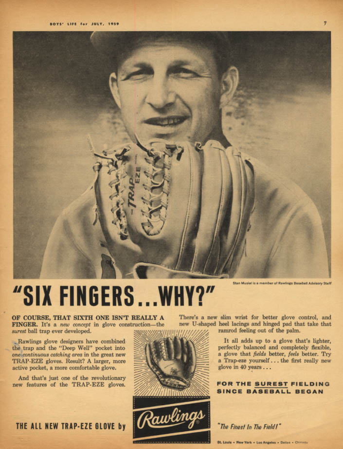 Image for Six Fingers - Why? Stan Musial for Rawlings Trap-Eze Baseball Glove ad 1959
