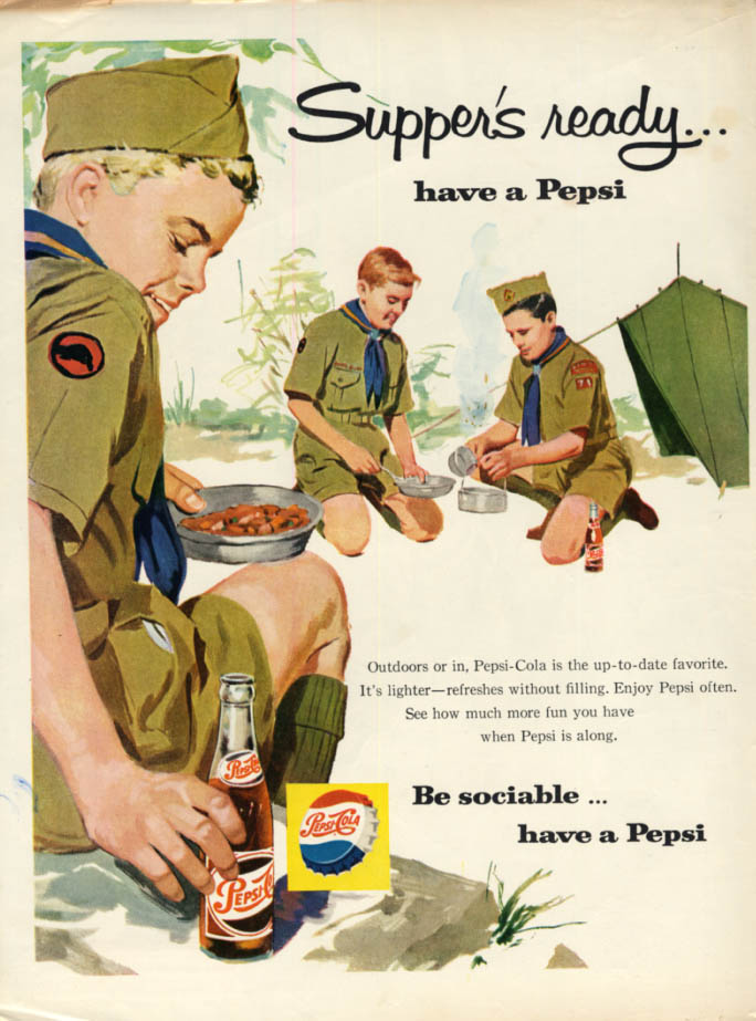 Image for Supper's ready - have a Pepsi-Cola ad 1959 Boy Scout campout