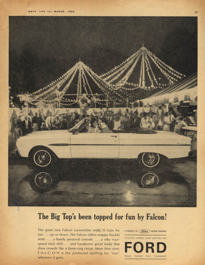 Image for The Big Top's been topped for fun by Ford Falcon Convertible ad 1963