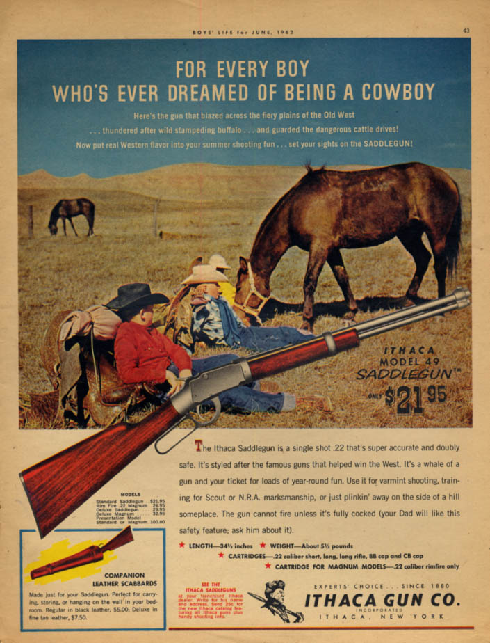 For every boy who dreamed of being a cowboy Ithaca .22 Saddlegun ad 1962