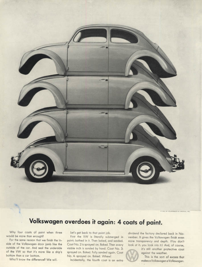 Image for Volkswagen overdoes it again: 4 coats of paint ad 1961 H