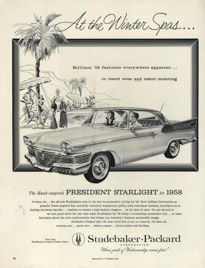 Image for At the Winter Spas - Studebaker President Starlight Hardtop ad 1958 H