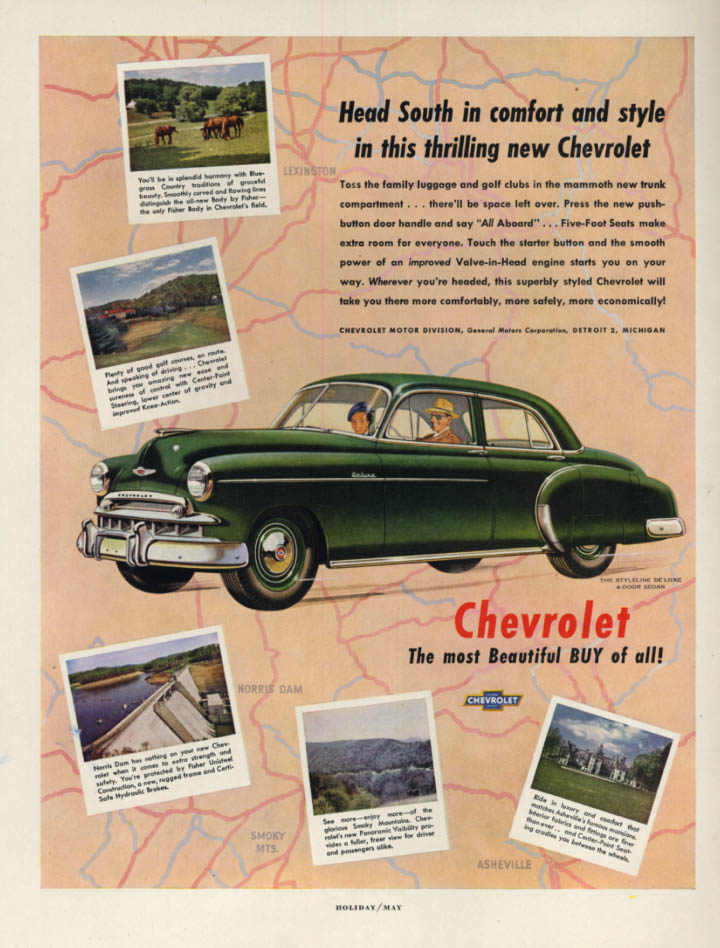 Image for Head South in comfort & style - Chevrolet Styleline De Luxe Sedan ad 1949 H