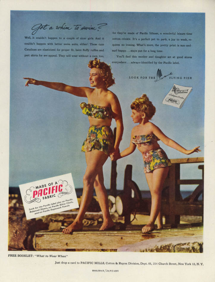 Image for Got a whim to swim? Catalina Swimsuits for Women & Girls Pacific Fabric ad 1949