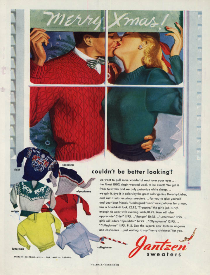 Image for Couldn't be better looking! Xmas Christmas Sweaters Jantzen ad 1948 Pete Hawley