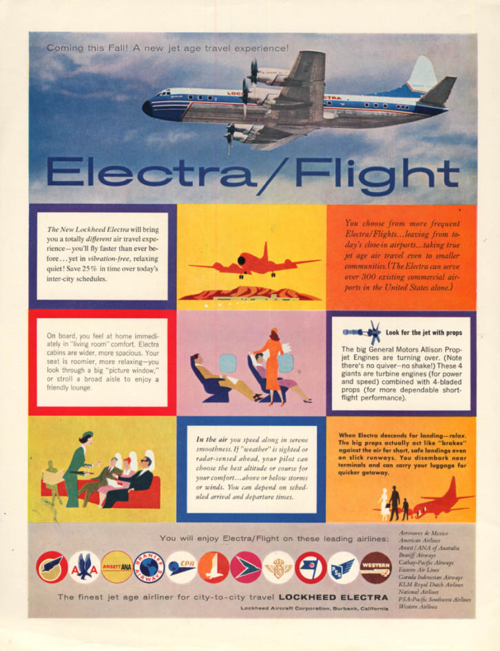 Image for A new jet age travel experience - Lockheed Electra airliner ad 1958 H