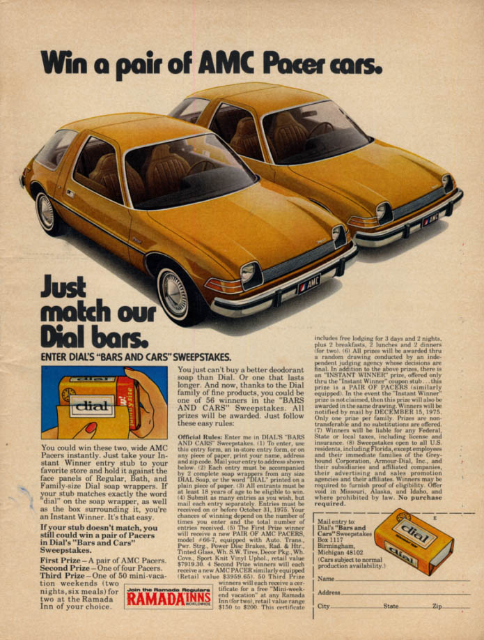 Image for Win a pair of AMC Pacer cars Just match our Dial Soap Bars contest ad 1975