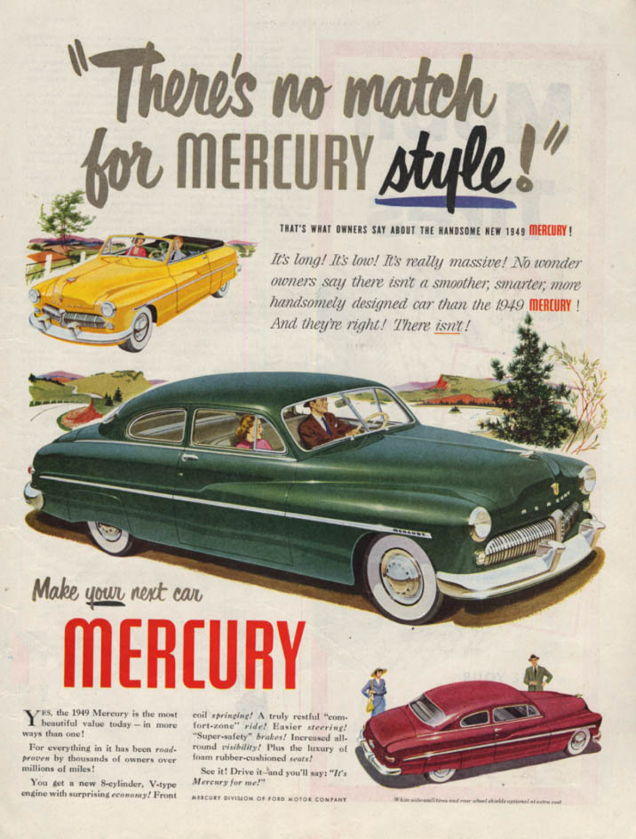 Image for There's no match for Mercury Style ad 1949 Convertible & Coupe SEP