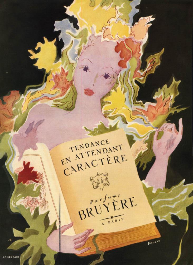 Image for Tendance en Attendant Caractere Bruyere Perfume ad 1947 Paulin art