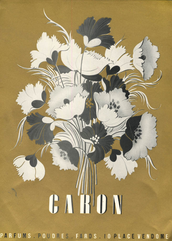Caron Parfum perfume ad 10 Place Vendome 1947 gilt ink