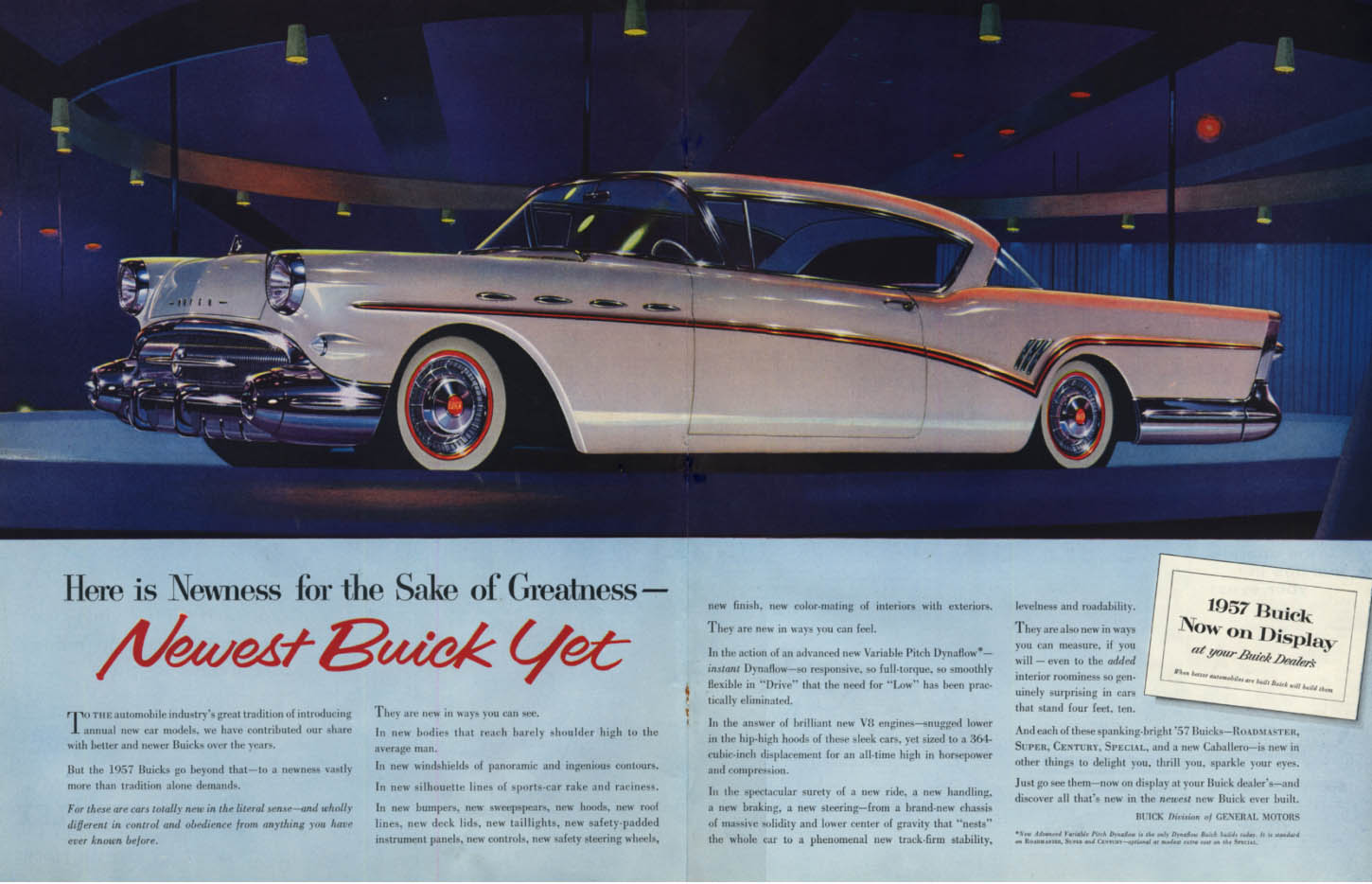 Image for Newness for the Sake of Greatness - Buick Roadmaster 2-door hardtop ad 1957 SEP