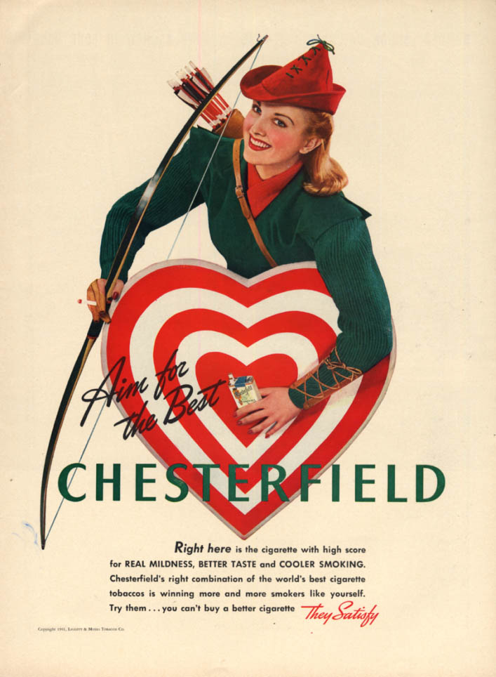 Image for Aim for the best Chesterfield Cigarettes ad 1941 woman archer & target L