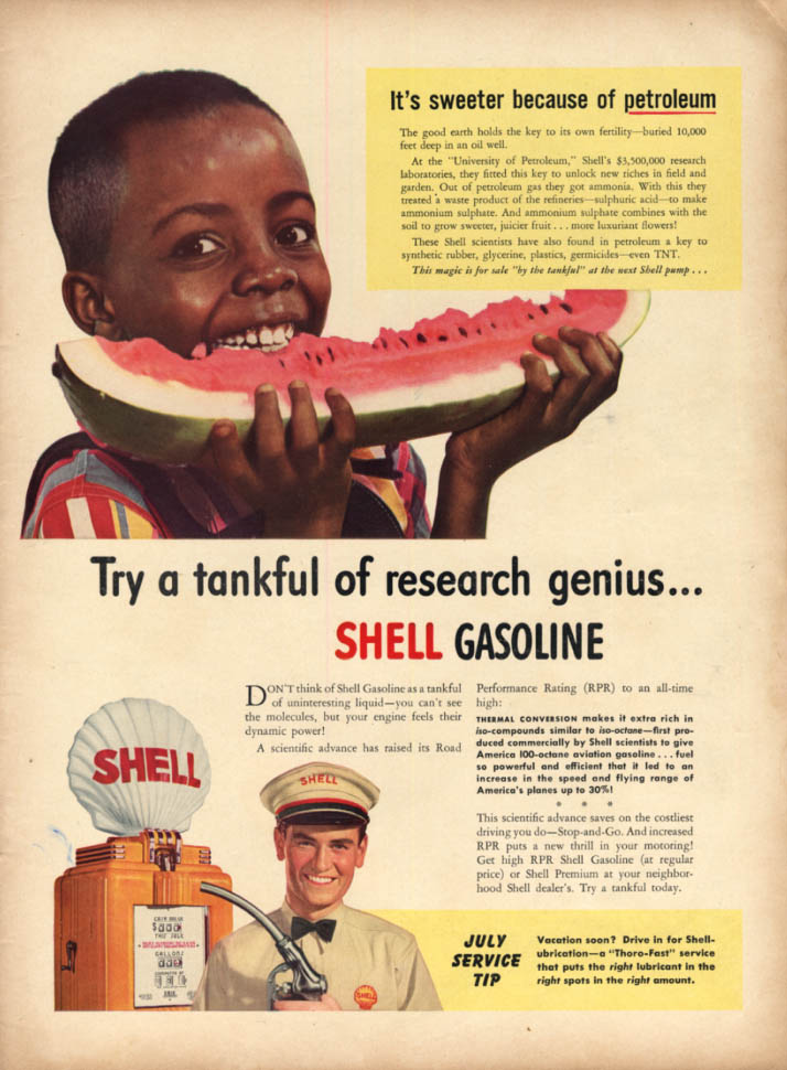 Black boy eating watermelon - sweeter because of Shell Gasoline ad 1941 L