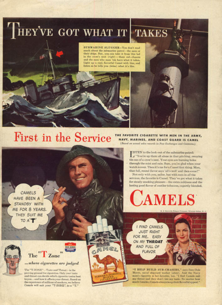 Image for They've got what it takes Submarine Patrol for Camel Cigarettes ad 1943 L