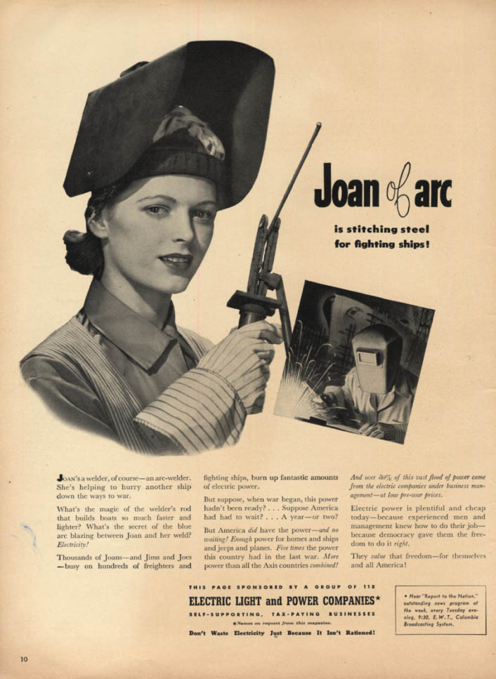 Image for Joan of Arc stitching steel Rosie the Riveter Electric Light & Power ad 1943 L