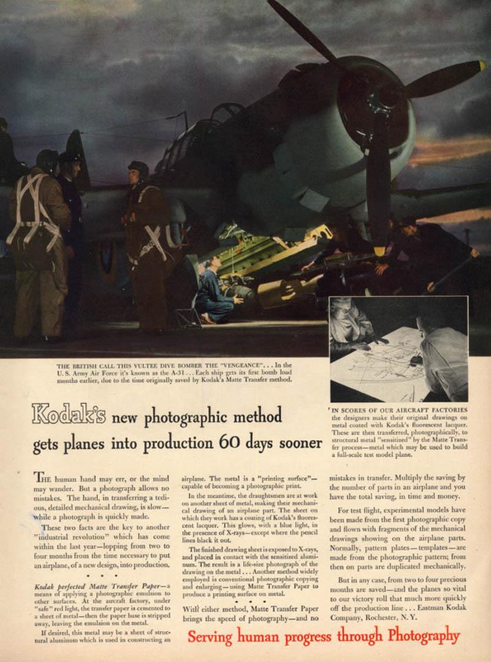 Image for A-31 Vultee Dive Bomber Vengeance Kodak Matte Transfer ad 1943 L