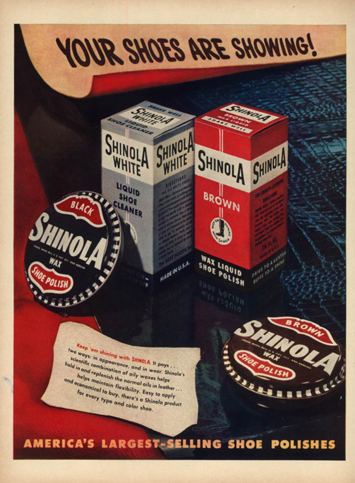 Image for Your shoes are showing! Shinola Shoe Polish ad 1948 L