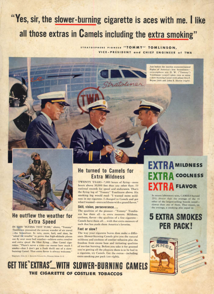 Image for TWA Chief Engineer Tommy Tomlinson for Camel Cigarettes ad 1940 Stratoliner L