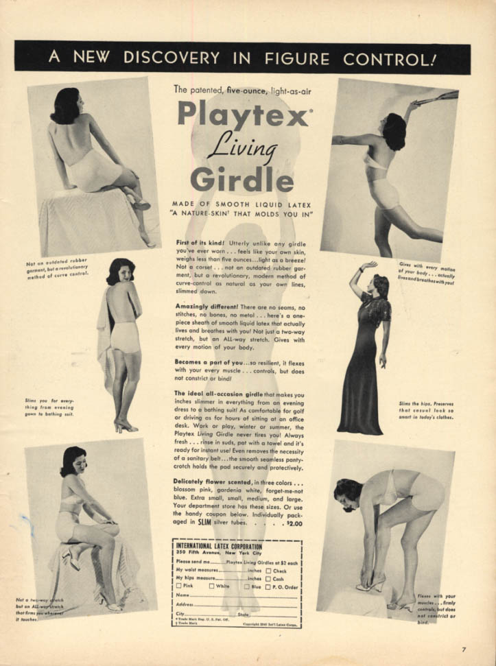 Image for A new Discovery in Figure Control! Playrex Living Girdle ad 1940 L