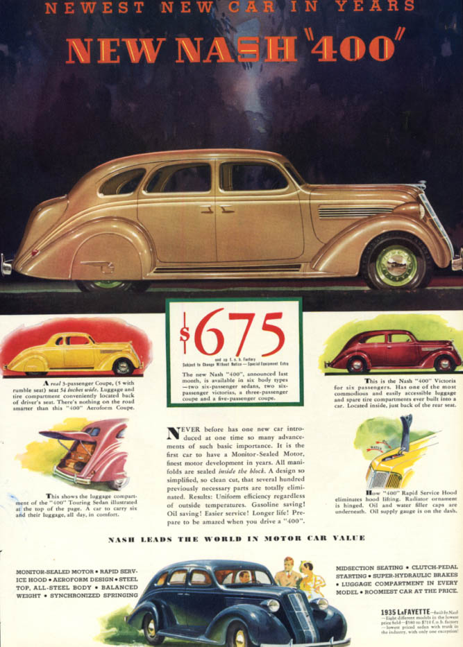 Image for The Newest New Car in Years Nash 400 Sedan Coupe & Victoria ad 1935 ESQ