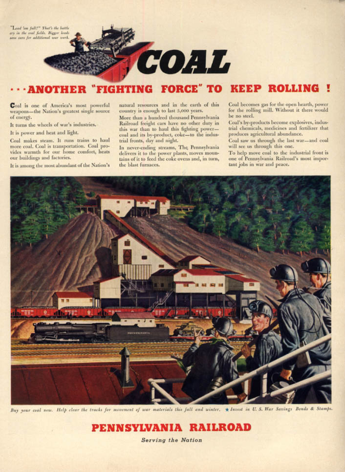 Image for Coal - Another Fighting Force to Keep Rolling - Pennsylvania Railroad ad 1942 L