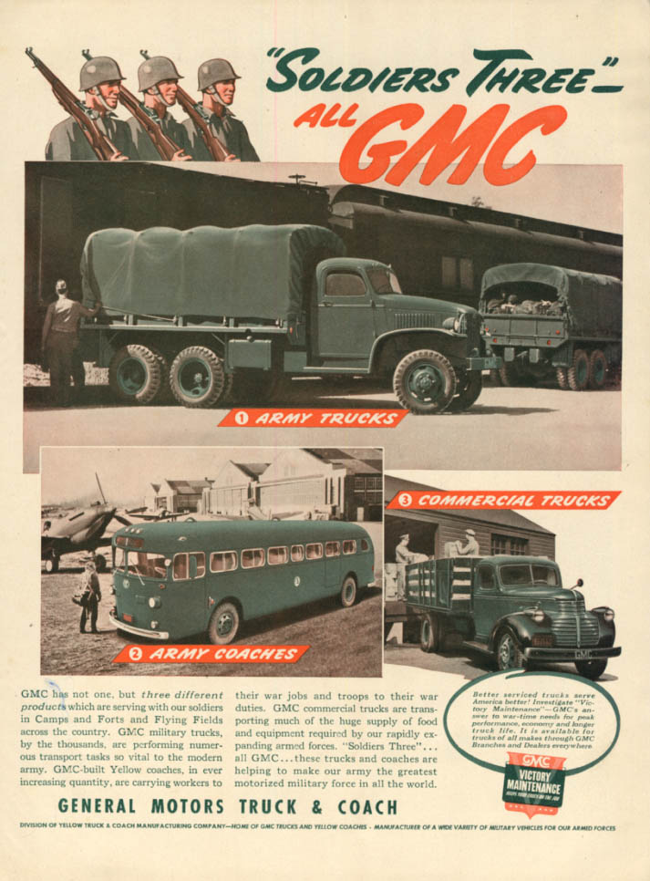 Image for Soldiers Three: GMC 6X6, Army Bus & Stakeside Truck ad 1942 L