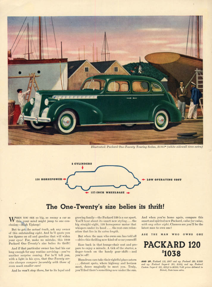 The Packard One-Twenty Touring Sedan's size  belies its thrift ad 1940 L