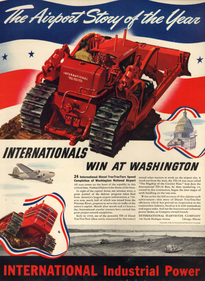 Airport Story of the Year: International Tractors at Washington National ad 1940