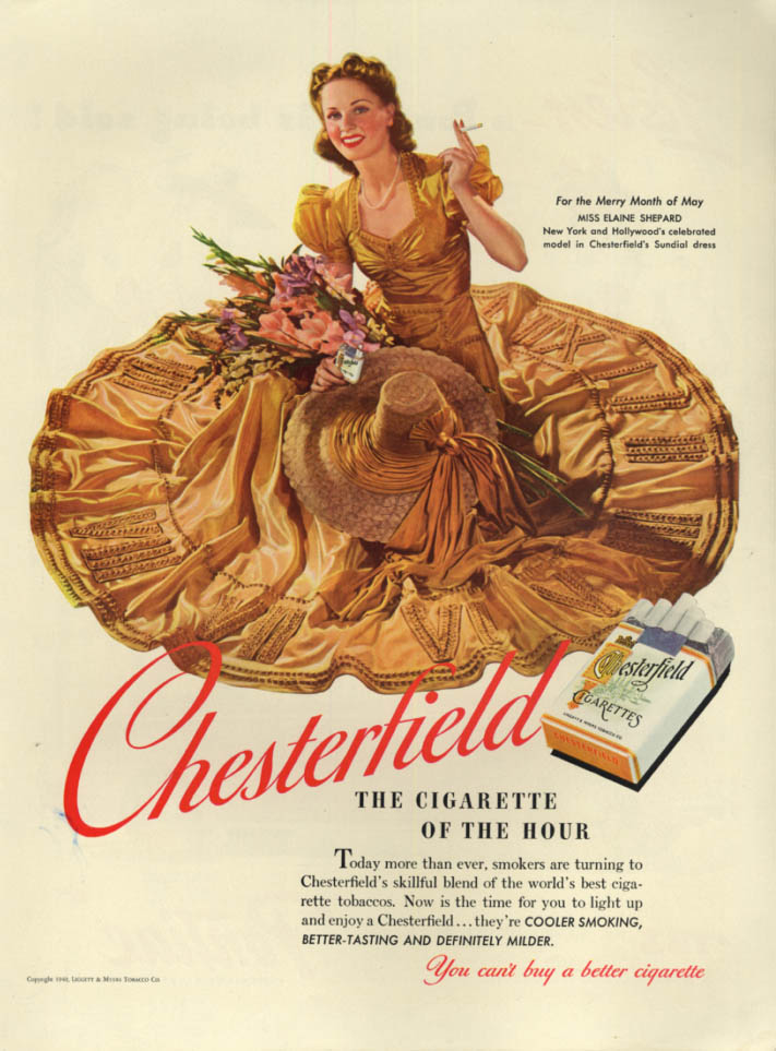 Image for Model Elaine Shepard for Chesterfield Cigarettes ad 1940 L