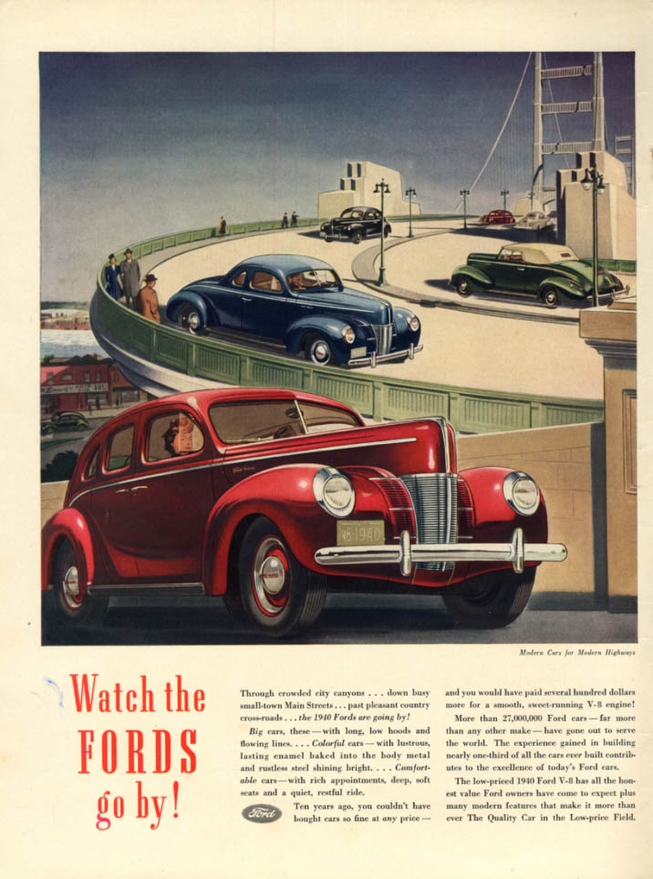 Image for Watch the Fords go by! Ford Fordor, Coupe & Convertible ad 1940 L