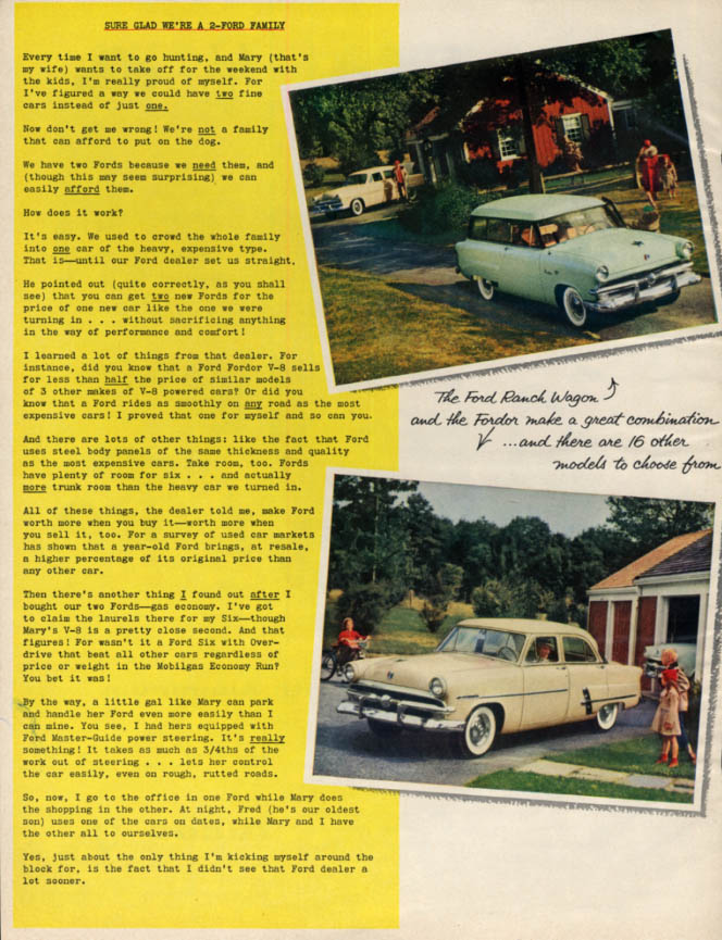 Image for Sure Glad We're a 2-Ford Family ad 1953 Ranch Wagon & Fordor BHG