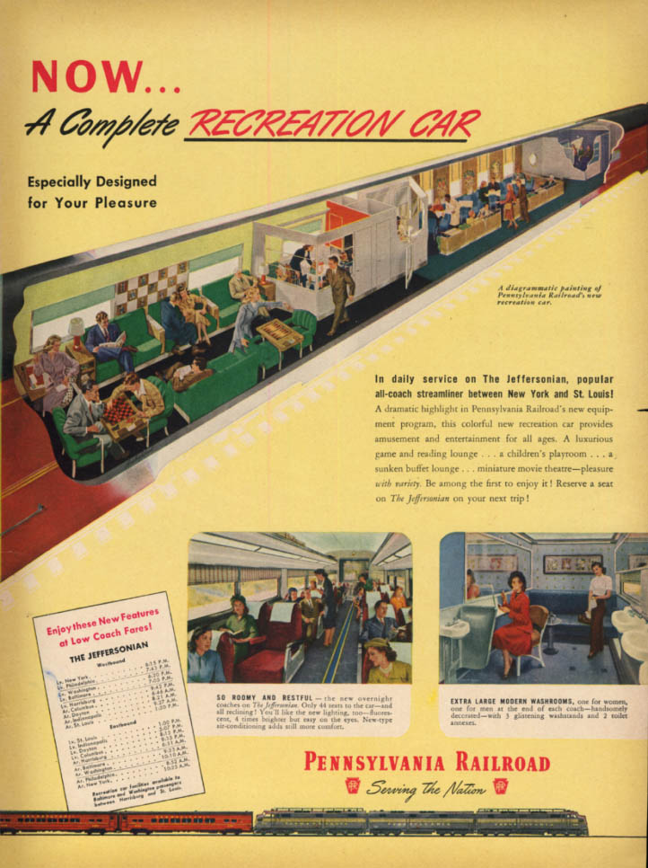 Image for Now a complete Recreation Car - Pennsylvania Railroad ad 1948 L