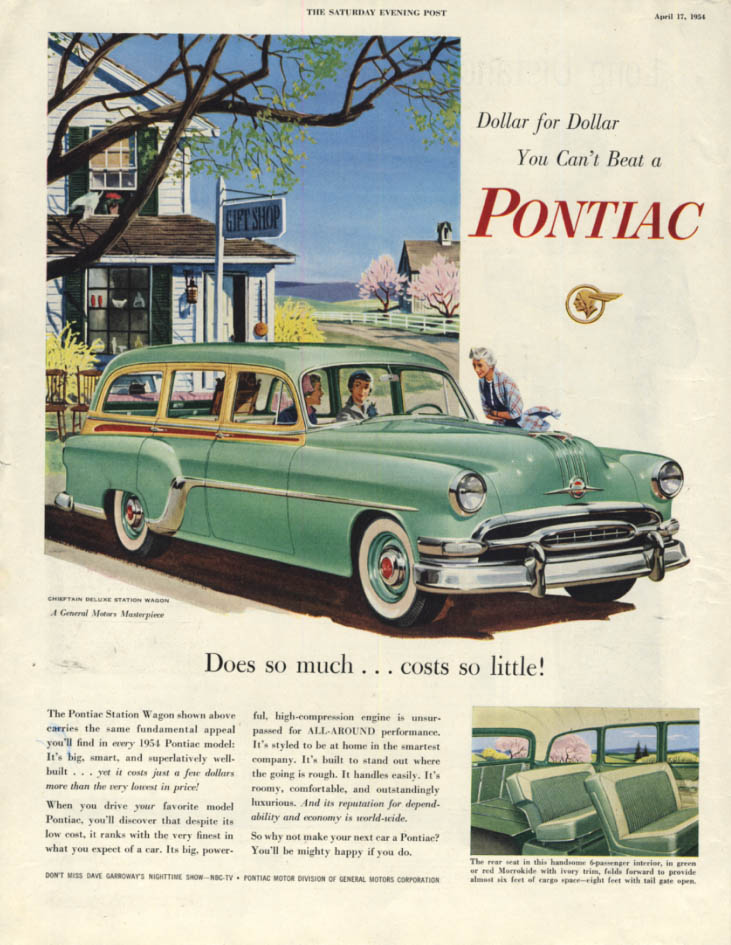 Image for Does so much costs so little Pontiac Chieftain Station Wagon ad 1954 SEP