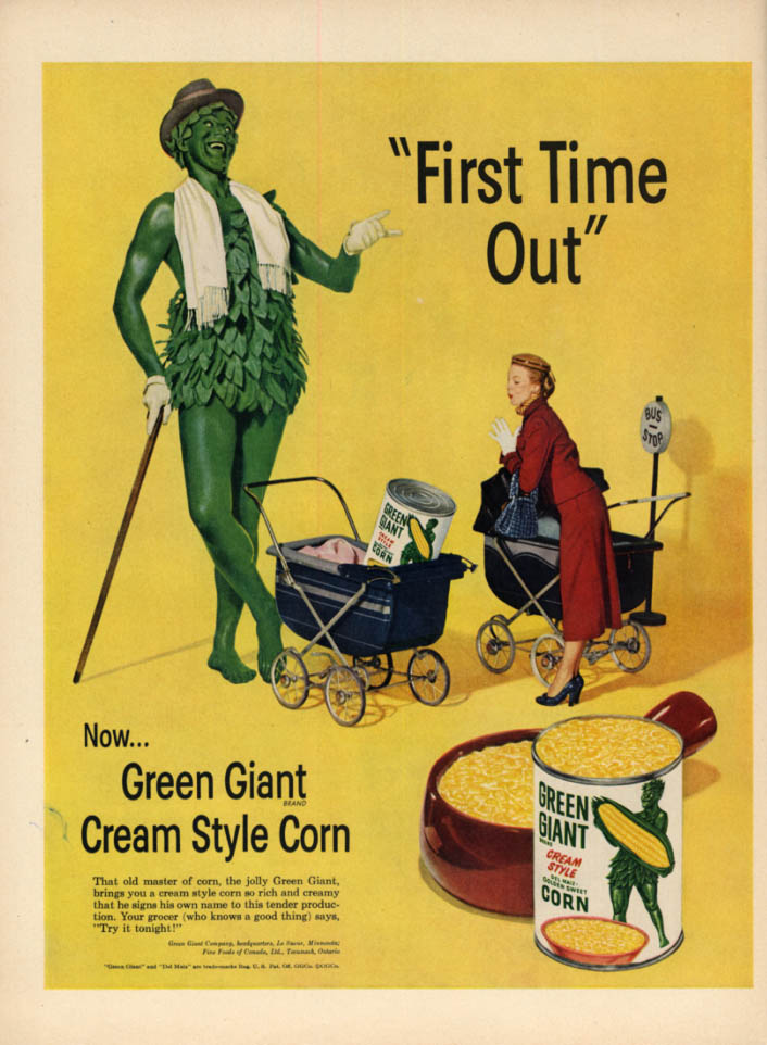 Image for First Time Out - Green Giant Cream Style Corn ad 1952 L